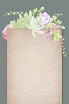 Pergaminho com tema suculento desenhado à mão