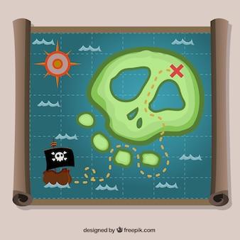 Pergaminho, crânio, ilha