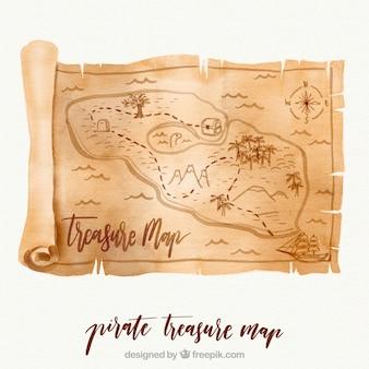 Pergaminho da aguarela com mapa do tesouro
