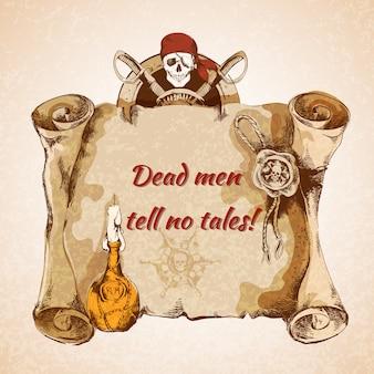 Pergaminho de piratas vintage