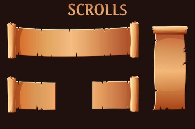 Pergaminhos antigos de papel pardo, modelo em branco para a interface do usuário do jogo