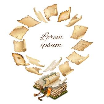 Pergaminhos antigos reais e papel voando sobre o livro.