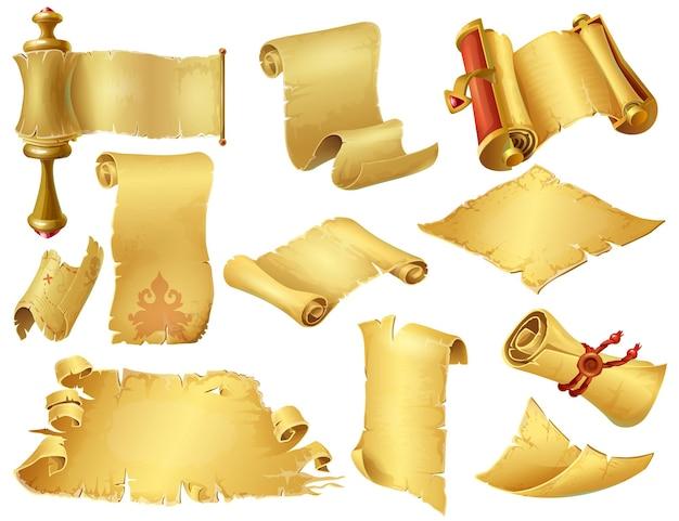 Pergaminhos de desenhos animados. manuscritos e pergaminhos de papiro antigos, rolos de papel antigos para jogos de computador e celular. papel laminado vintage de vetor, como um elemento de jogo de computador em background branco