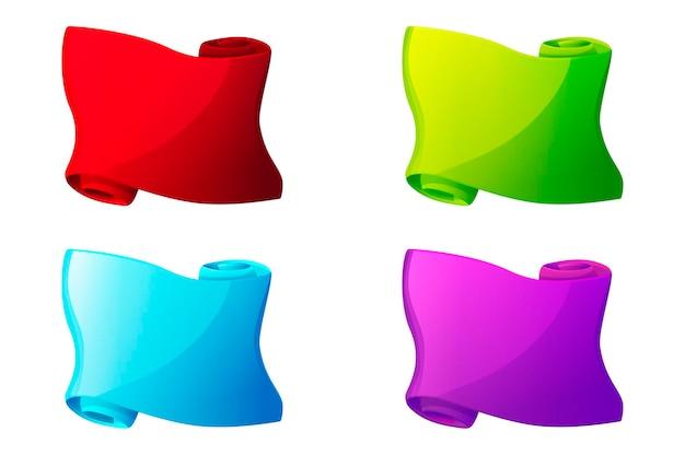 Pergaminhos de papel multicoloridos, papiro em branco brilhante para jogos de interface do usuário. ilustração conjunto de papéis coloridos vazios