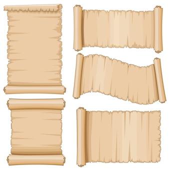 Pergaminhos de vetor antigo pergaminho. papel em branco de rolagem envelhecido