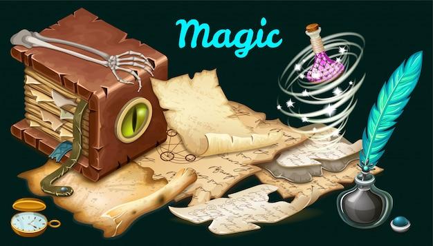 Pergaminhos, livro isométrico de feitiços, bruxaria