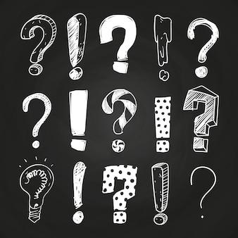 Pergunta de esboço e pontos de exclamação