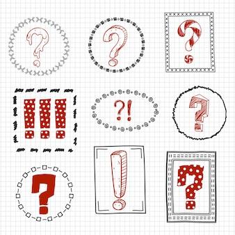Pergunta e pontos de exclamação em quadros desenhados à mão