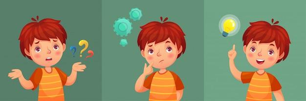 Pergunta infantil. o menino pensativo faz a pergunta, criança confusa e entende ou encontrou a resposta ilustração do retrato dos desenhos animados