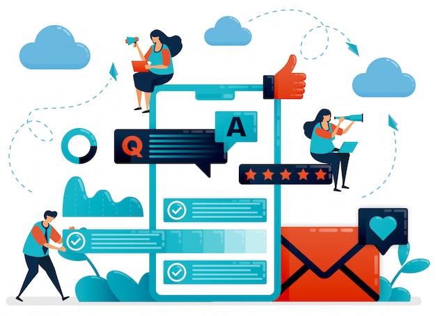 Perguntas e respostas ou perguntas e respostas aos usuários para obter ilustração do conceito de feedback