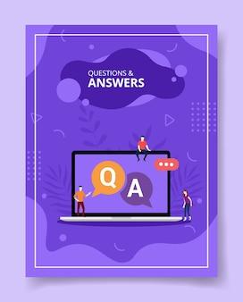 Perguntas e respostas pessoas sentadas no laptop q e a texto em exibição, pôster.