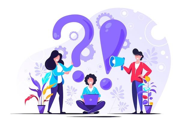 Perguntas freqüentes pessoas em torno de exclamações