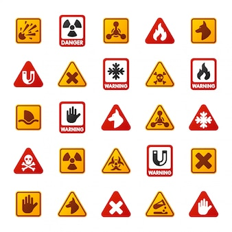 Perigo aviso atenção sinal ícones