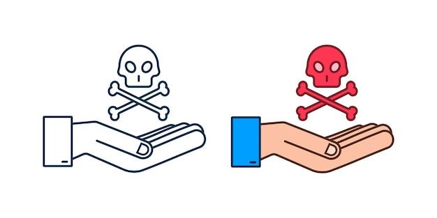 Perigo cadastre-se nas mãos sobre fundo branco. ilustração vetorial.