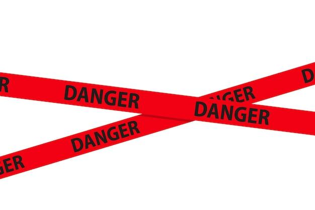 Perigo, cuidado e fitas sem costura de aviso. fronteira de faixa de polícia da cruz vermelha. ilustração do vetor de crime.