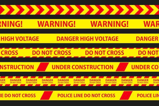 Perigo, cuidado e fitas sem costura de aviso. fronteira de listra de polícia vermelha e amarela. ilustração do vetor de crime.