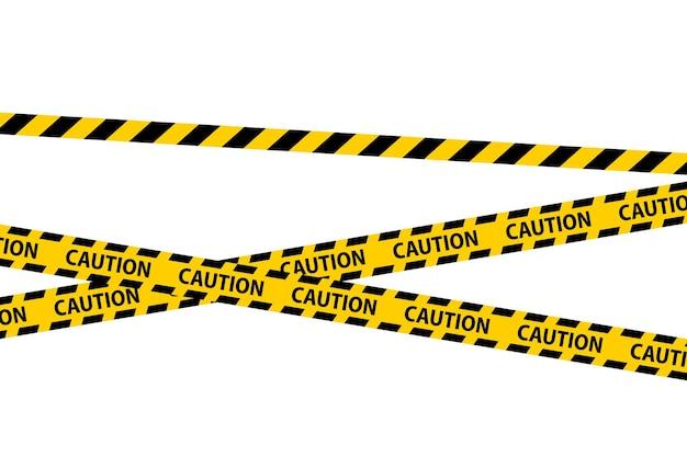 Perigo, cuidado e fitas sem costura de aviso. fronteira de listra policial preta e amarela. ilustração do vetor de crime.