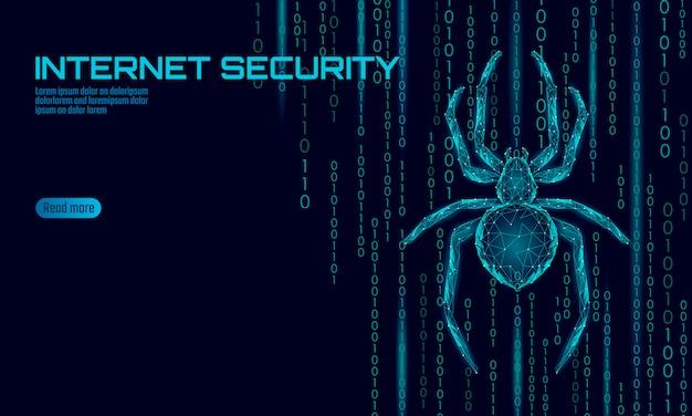 Perigo de ataque de hacker de aranha de baixo poli. conceito de antivírus de segurança de dados de vírus de segurança na web. conceito de negócio de design moderno poligonal. cyber crime web inseto bug tecnologia ilustração