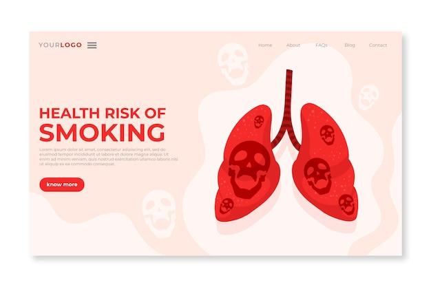 Perigo de fumar modelo de página de destino com pulmões