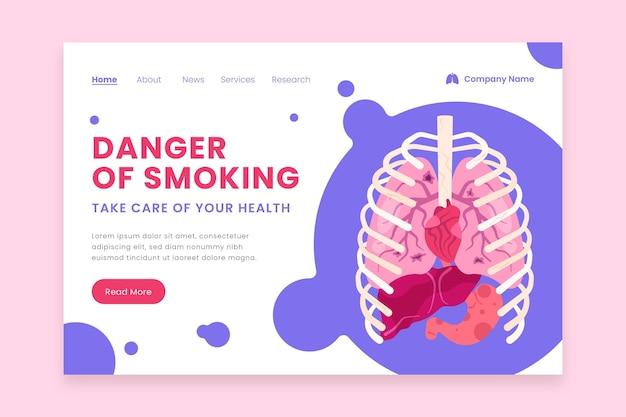 Perigo de fumar na página de destino com pulmões