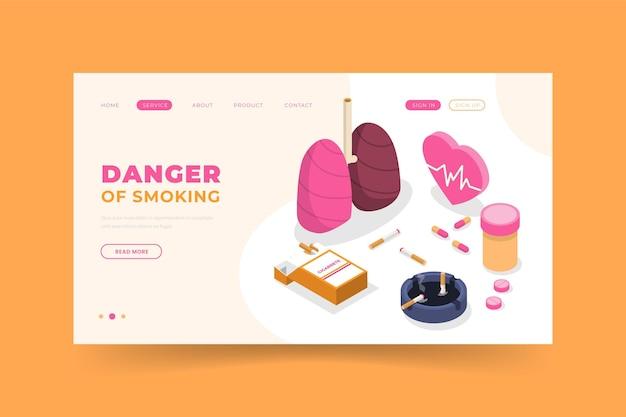 Perigo de fumar - página de destino