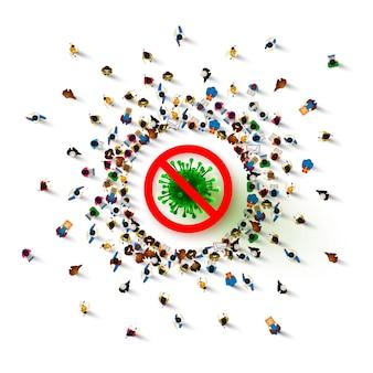 Perigo de pessoas, pare de vírus, pare de espalhar a epidemia.