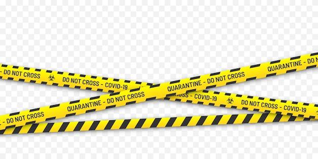 Perigo de risco biológico em quarentena. listras amarelas e pretas. conceito de coronavirus covid-19.