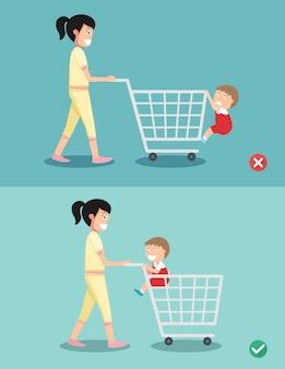 Perigo e segurança para a criança sentar no carrinho de compras
