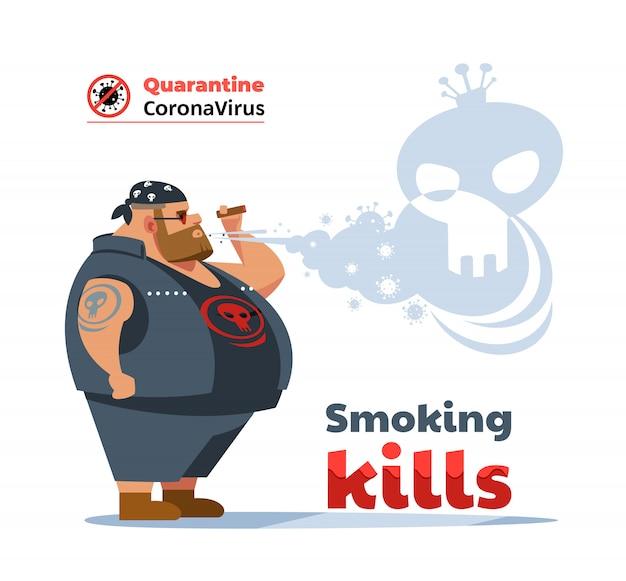 Perigos de cartaz de fumar. coronavírus. homem motociclista durante a pandemia de covid-19, tossindo e fumando um cigarro na rua. fumar causa câncer de pulmão e outras doenças. ilustração.