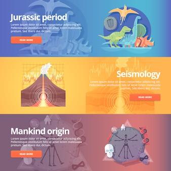 Período jurássico. idade dos dinossauros. ciência sismográfica. erupção do vulcão. origem da humanidade. antropologia. ciência da vida. terremoto estudando. conjunto de bandeiras de educação e ciência. conceito.