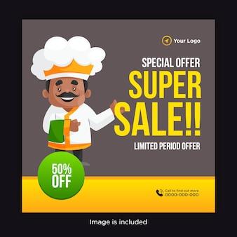 Período limitado especial oferece design de banner de super venda com um chef