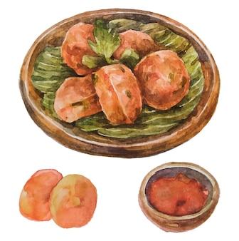 Perkedel de comida indonésia em aquarela