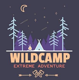 Permaneça selvagem criança de acampamento