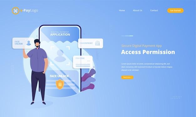 Permissão de acesso para proteger o conceito de aplicativo de pagamento digital