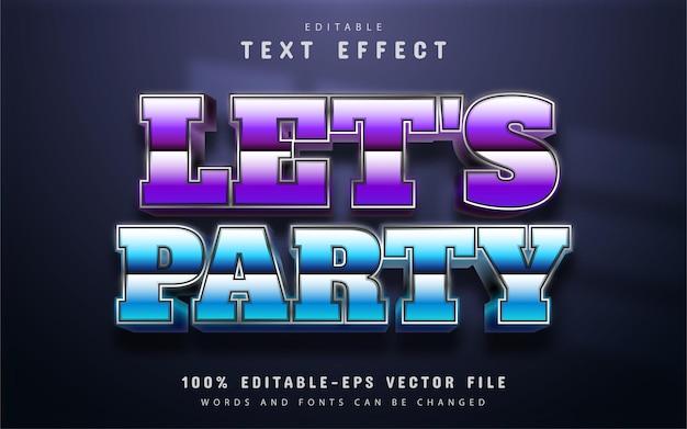Permite texto de festa, efeito de texto retro dos anos 80
