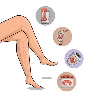 Pernas da mulher com ferramentas de depilação