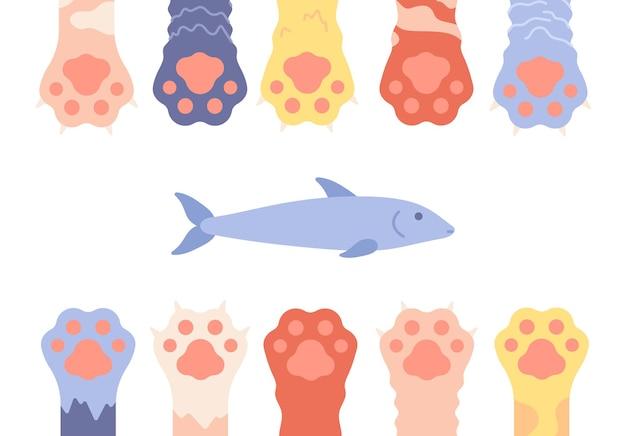 Pernas de animais selvagens isoladas e peixes, quadro de pegadas de gatinho.
