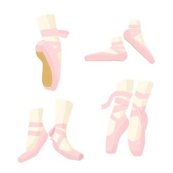 Pernas de bailarina em sapatilhas de balé de ponta, chinelos cor de rosa com fitas, calçados para dançar e apresentação no palco