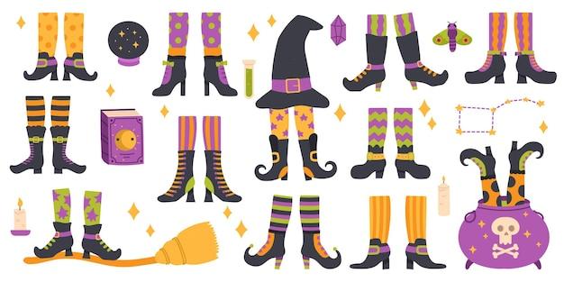 Pernas de bruxa de halloween pernas de bruxa engraçadas em meias listradas, botas, caldeirão de bruxaria e conjunto de vetor de chapéu