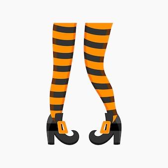 Pernas de bruxa em meias listradas e botas elemento de design para festa de halloween