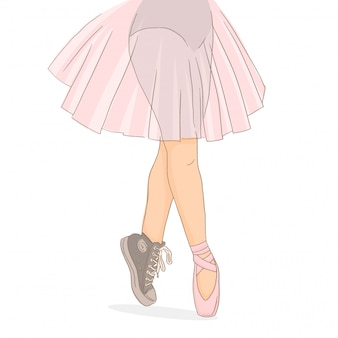 Pernas de dançarina em calçados diferentes