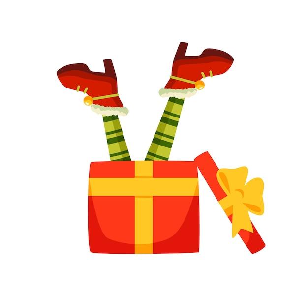 Pernas de elfo em caixa de presente