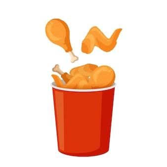 Pernas e asas de frango frito em balde vermelho de carne crocante em massa em vetor de embalagem de papel isolado