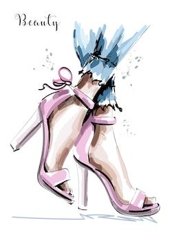 Pernas elegantes com sapatos
