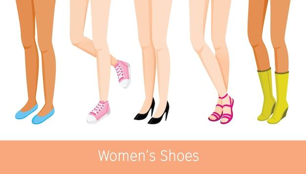 Pernas femininas com diferentes tipos de pele e sapatos, mulheres em pé