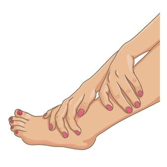 Pernas femininas com os pés descalços, vista lateral