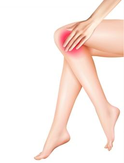 Pernas femininas e ilustração realista de dor