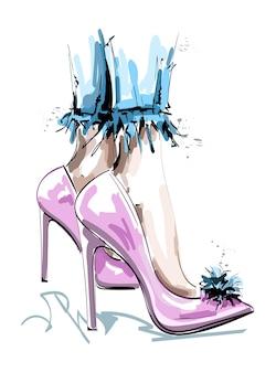 Pernas lindas em sapatos