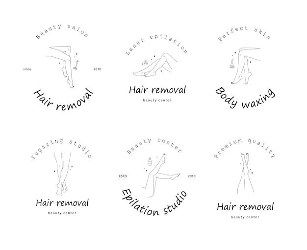 Pernas lisas femininas. depilação. logotipo da depilação a laser e cera.