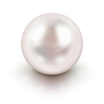 Pérola branca natural brilhante com efeitos de luz